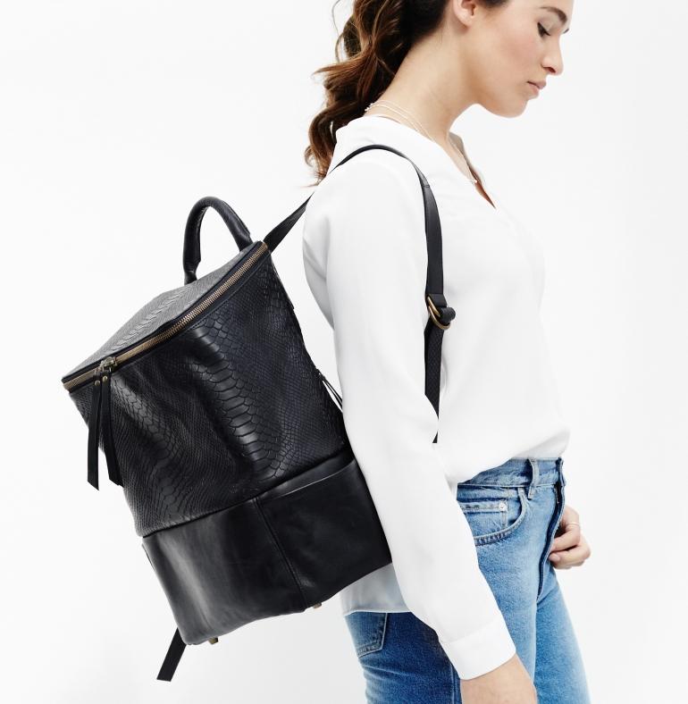 Backpack 'Jamie' black python model