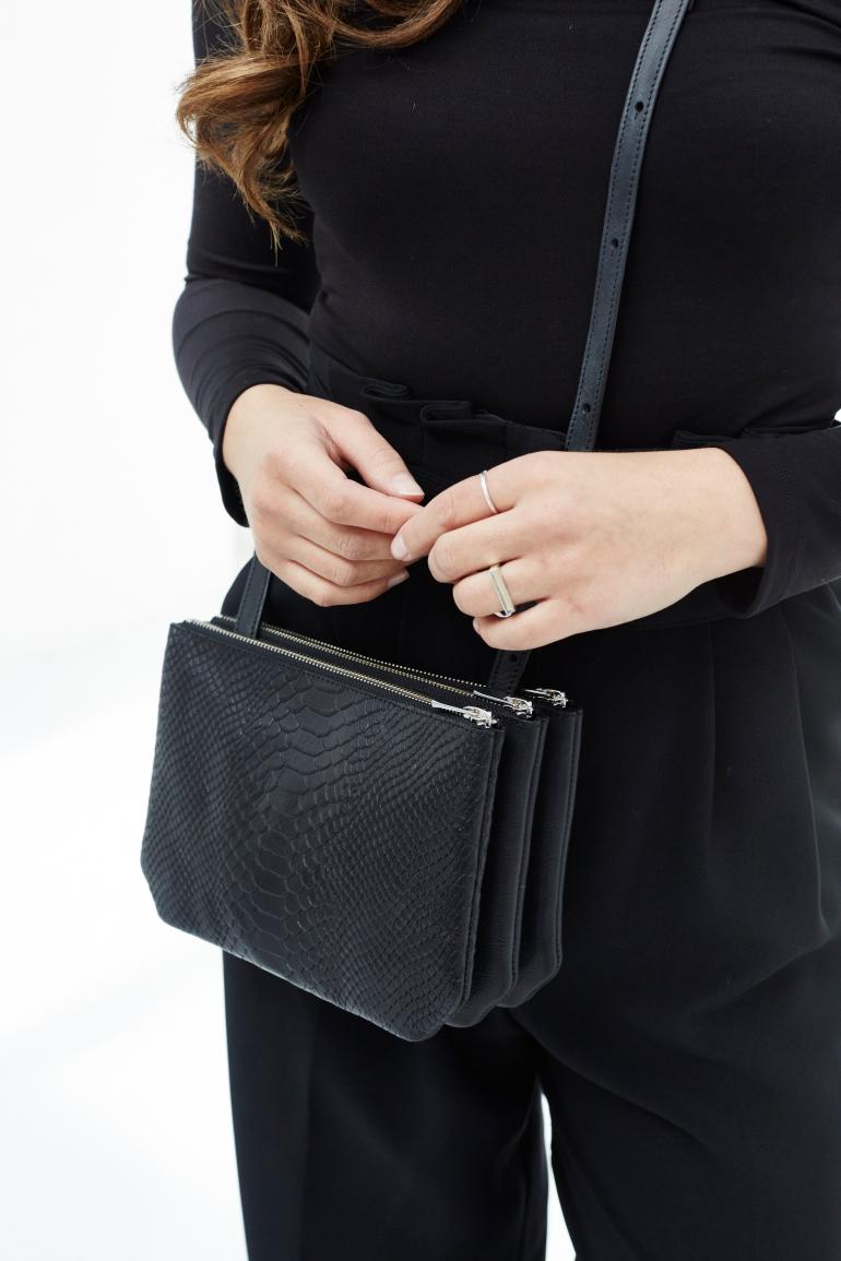 Trio bag 'Ella' black python model